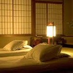 ryokan:futons on mats, walls of shoji screens..perfect!